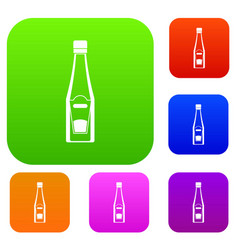 bottle of ketchup set color collection vector image