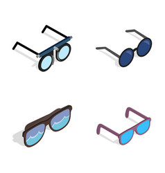 glasses icon set isometric style vector image