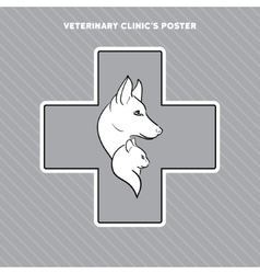Hand drawn cat and dog on the poster for vector image vector image