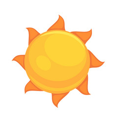 summer yellow sun with rounded orange rays vector image vector image