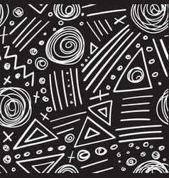 Abstract marker white lines on black background vector