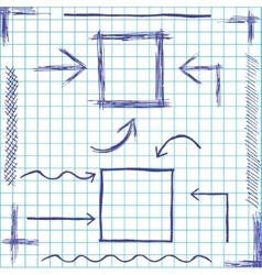 Arrows and frames sketchy design vector image