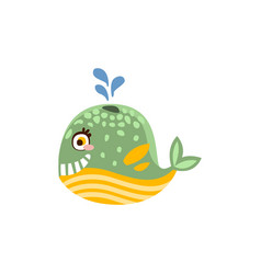 funny whale sea creature hand drawn vector image vector image