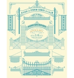 Wrought iron wicket and Wedding invitation fence vector image
