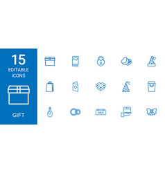 15 gift icons vector image