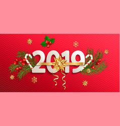 2019 new year banner with gold christmas bow vector image