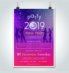 2019 party night celebration flyer vector