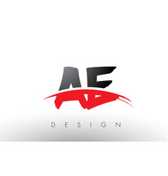 Ae a d brush logo letters with red and black vector