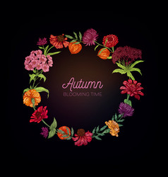 autumn blooming flowers wreath vector image