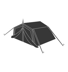 black camping tent graphic vector image