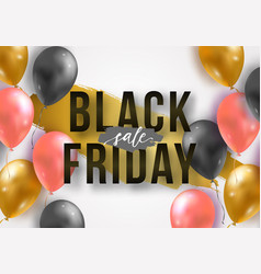 black friday sale poster with shiny 3d realistic vector image