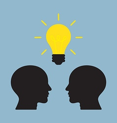 Bright light bulb on top of human heads vector