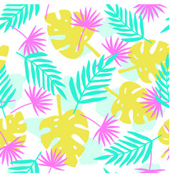Bright tropical leafs background vector