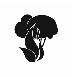 Burning forest trees icon simple style vector image