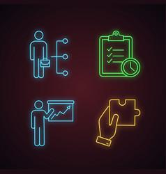 business management neon light icons set vector image