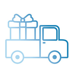 cargo truck with gift box icon vector image