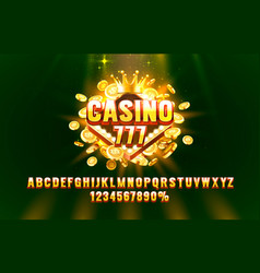 casino 777 font set collection letters and vector image