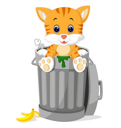 Cat looking out trash can vector