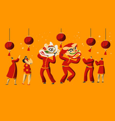 Chinese new year parade character man dance vector