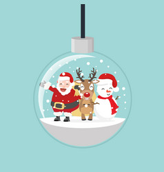christmas ball with santa and friends vector image