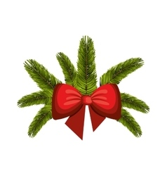 christmas decoration with red bow ribbon vector image
