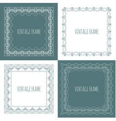 Collection of four stylish vintage frame vector