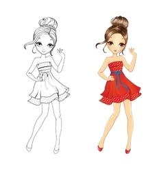 Coloring Book Of Retro Girl vector image