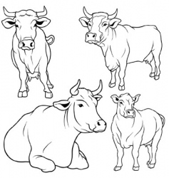 Cow set vector