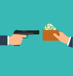 criminal threatening gun extorts money from the vector image
