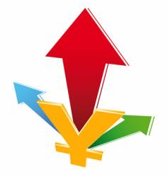 Currency growth icon vector
