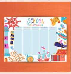 cute calendar weekly planner template marine vector image