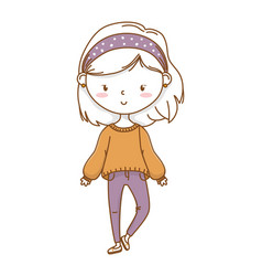 Cute girl cartoon stylish outfit isolated vector