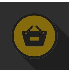 Dark gray and yellow icon - shopping basket minus vector