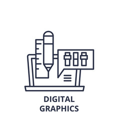 digital graphics line icon concept digital vector image