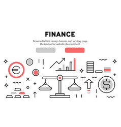 finance flat line design banner and landing page vector image