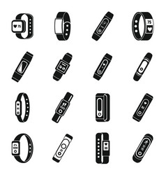 fitness bracelet accessory icons set simple style vector image