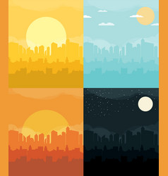 flat design urban landscape set vector image