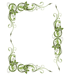 Frame green leaves vector
