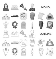 Funeral ceremony monochrom icons in set collection vector