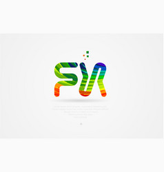 Fx f x rainbow colored alphabet letter logo vector
