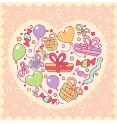 gifts balloons in heart illustration vector image