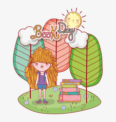 girl read books information with trees and sun vector image