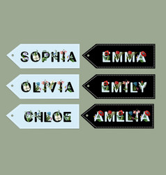 girls names from font with flowers vector image