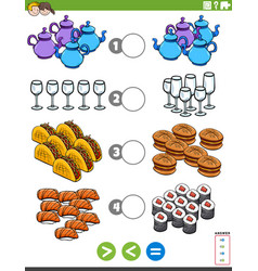 Greater less or equal educational game with food vector