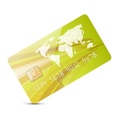 Green Credit Card Isolated on White Backgrou vector image