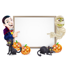 Halloween sign with mummy and dracula vector