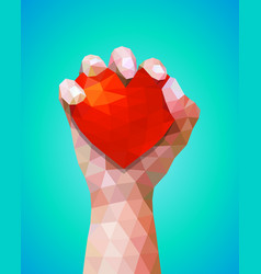 hand gestures holding heart symbol hand and heart vector image