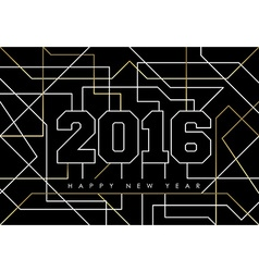 Happy new year abstract 2016 gold deco outline vector image