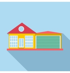 House with garage icon flat style vector