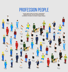 human professions isometric background vector image